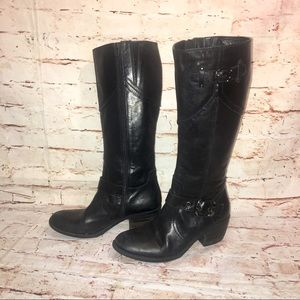 Made in Romania Buckle Riding Black Leather Boot-9